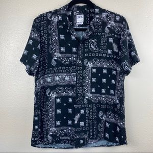 ZARA Button-down Multi Pattern Relaxed Fit Shirt